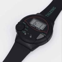 Black english talking watch with black plastic strap