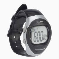Large black/silver english talking watch with stopwatch and plastic strap
