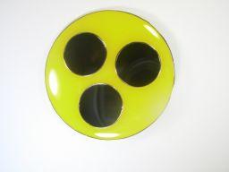 Blindenabzeichen / Blindenplakette, gelb mit 3 schwarzen Punkten (2 x Magnet)