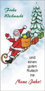 taktile Glückwunschkarte: Weihnachtsmann mit Schlitten