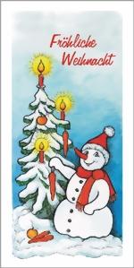 taktile Glückwunschkarte: Schneemann mit Weihnachtsbaum