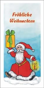 taktile Glückwunschkarte: Weihnachtsmann mit Geschenk