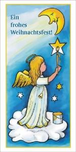 taktile Glückwunschkarte: Engel auf Wolke mit Mond und Sternen