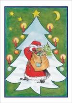 taktile Glückwunschkarte: Weihnachtsmann mit Baum