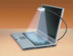 Notebook-Leseleuchte, 8 LED, USB, Dimmer, Schwanenhals