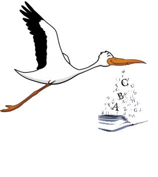 Storch mit Buchstaben