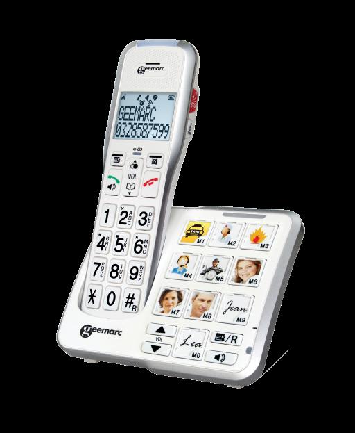 Festnetz: Schnurlostelefon AmpliDect 595 PHOTO mit Sprachansage