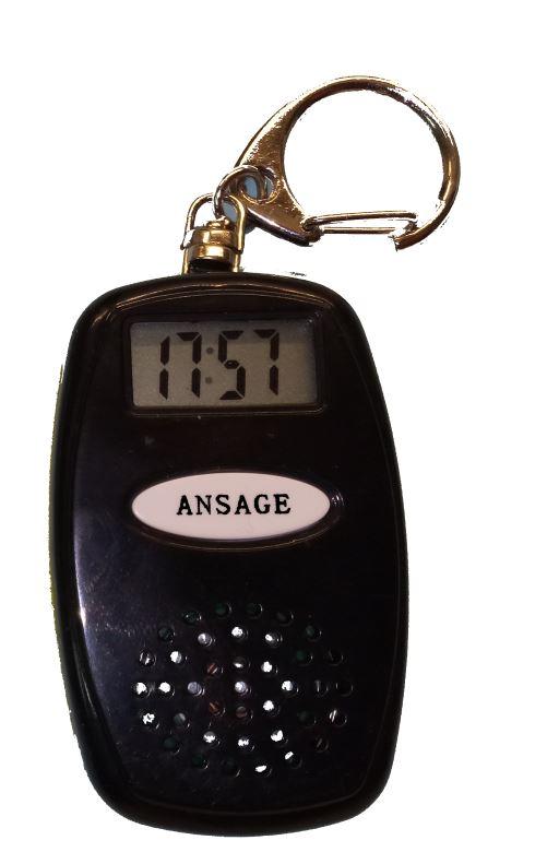 Schlüsselanhänger mit Ansage der Zeit und Temperatur, schwarz