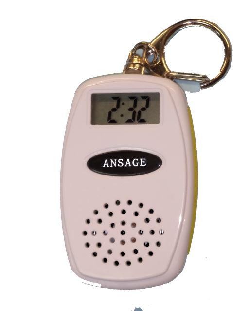 Schlüsselanhänger mit Ansage der Zeit und Temperatur, weiß