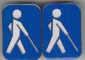 Blindenabzeichen / Blindenplakette, blau mit weißem Männchen (2 x Magnet)