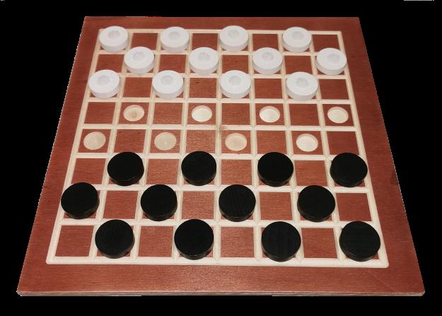 Damespiel aus Holz mit 2 x 16 Steine für Blinde (8*8 Felder)