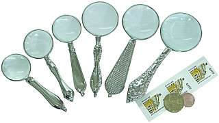 Lupen-Set mit silbernen Handgriffen 6-teilig