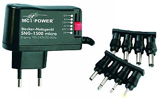 Stecker-Netzgerät McPower 'SNG-1500 micro' 3-12V, max 1500mA, Schaltnetzteil