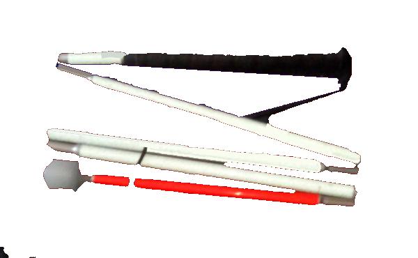 Suchstock, Faltstock 5-teilig, Aluminium, Kunststoffgriff