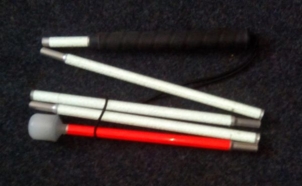 Suchstock, Faltstock 6-teilig, Aluminium, Kunststoffgriff
