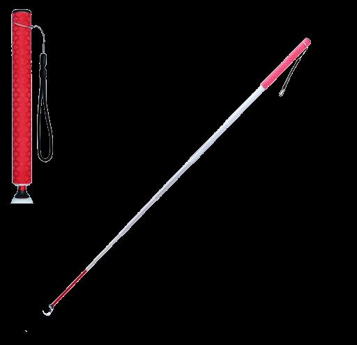 Langstock Teleskopstock 7-teilig Aluminium 30-150cm, rot