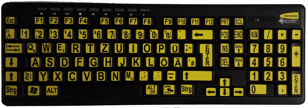 Großschrift-Funktastatur mit Maus, Multimediatasten, schwarz mit schwarzen Buchstaben auf gelb