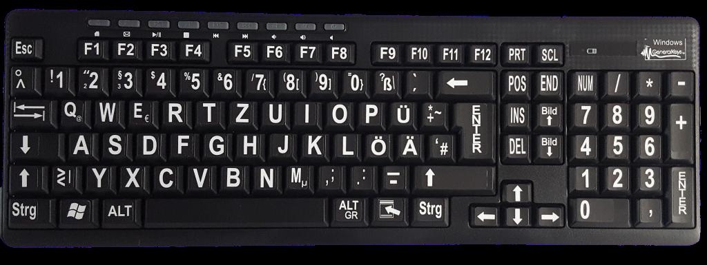 Großschrift-Funktastatur mit Maus, Multimediatasten, schwarz mit weißen Buchstaben