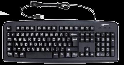 Tastatur für Sehbehinderte, schwarz mit weißer Schrift, USB