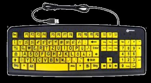 Tastatur für Sehbehinderte, gelb mit schwarzer Schrift, USB