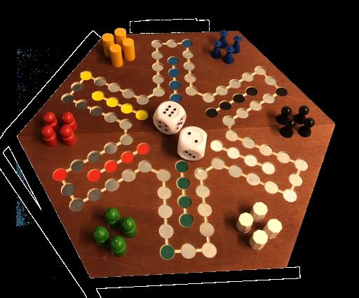 Taktiles, magnetisches Rausschmeisser für Blinde, Holz, groß für bis zu 6 Spieler, dunkel
