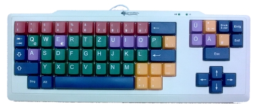 MoKey, Tastatur mit sehr großen Tasten (2x2 cm), farbig