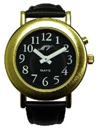 sprechende Damen-Armbanduhr mit Analoganzeige schwarz, Leder, Einknopfbedienung