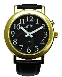 sprechende Damen-Armbanduhr mit Analoganzeige schwarz, Metall, Einknopfbedienung