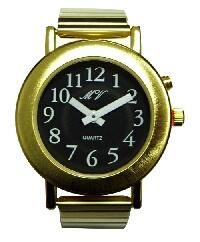 sprechende Herren-Armbanduhr mit Analoganzeige schwarz, Leder, Einknopfbedienung