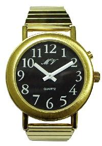 sprechende Herren-Armbanduhr mit Analoganzeige schwarz, Metall, Einknopfbedienung
