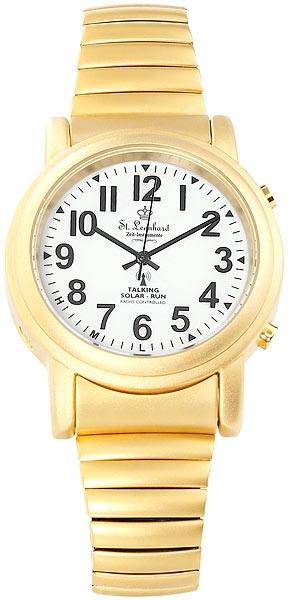 Sprechende  Hybrid Armbanduhr mit Funk und Solar, gold