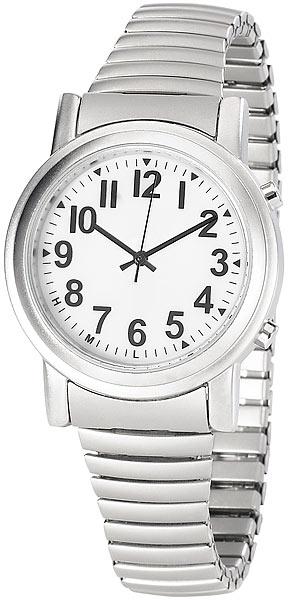 Sprechende Hybrid Armbanduhr mit Funk und Solar, silber
