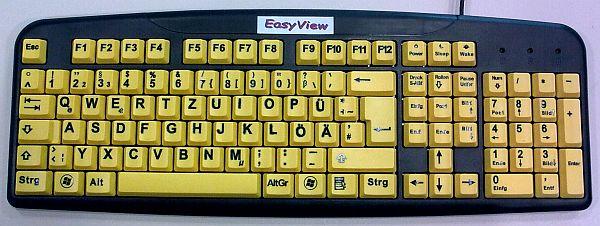 kontrastreiche gelb/schwarz Tastatur