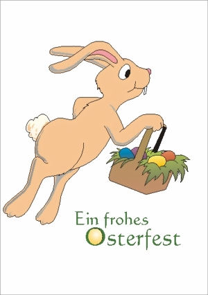 taktile Glückwunschkarte: Osterhase mit Korb