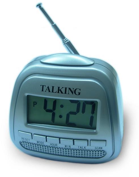 Radio-Reise-Wecker mit Sprachausgabe und LCD-Anzeige