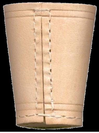 Würfelbecher aus Büffelleder, 70x90mm