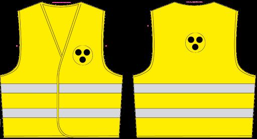 Sicherheits-Warnweste, gelb mit 3 schwarzen Punkten an der Vorder- und Rückseite